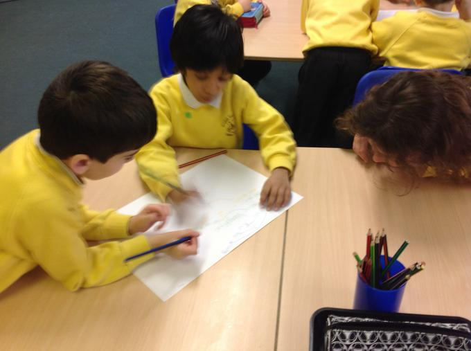 Working together to think of story ideas