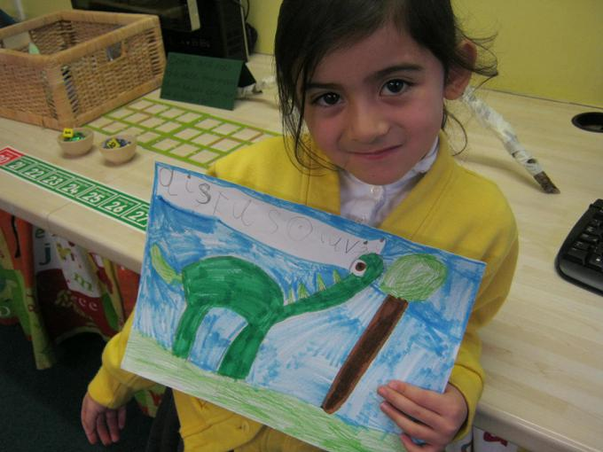 We wrote facts about dinosaurs