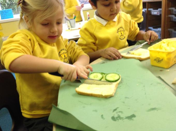 Preparing our sandwiches for the picnic