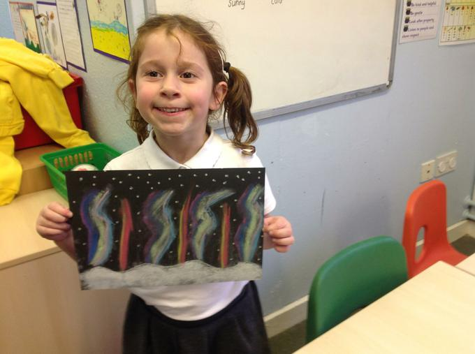 We used chalk pastels to show bright colours
