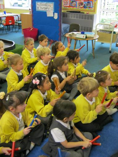 Using instruments in our music lesson