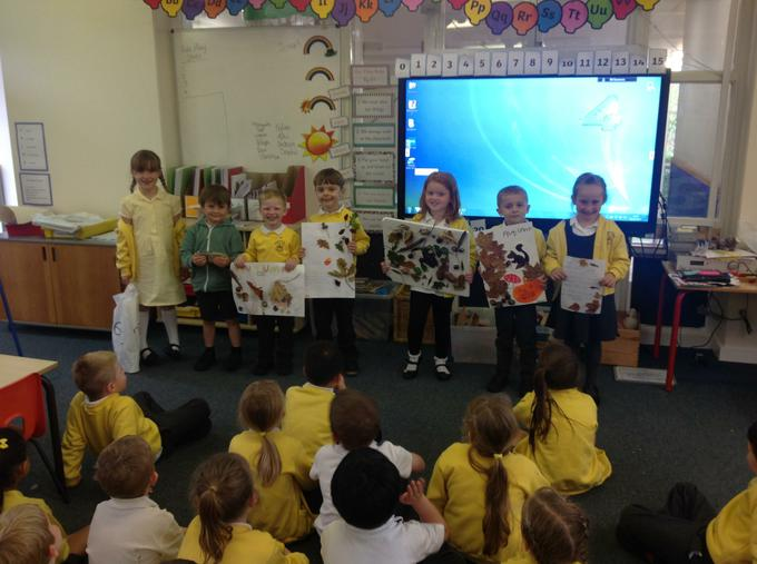 Presenting our home learning to the class.