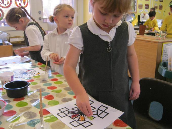 We decorated rangoli patterns