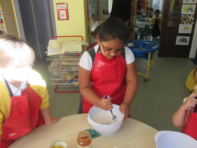 Making our pizza dough