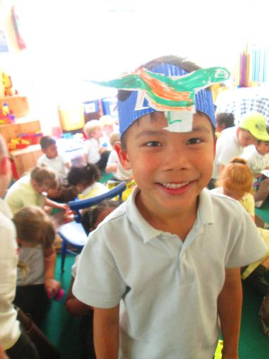 A dinosaur headband, made independently