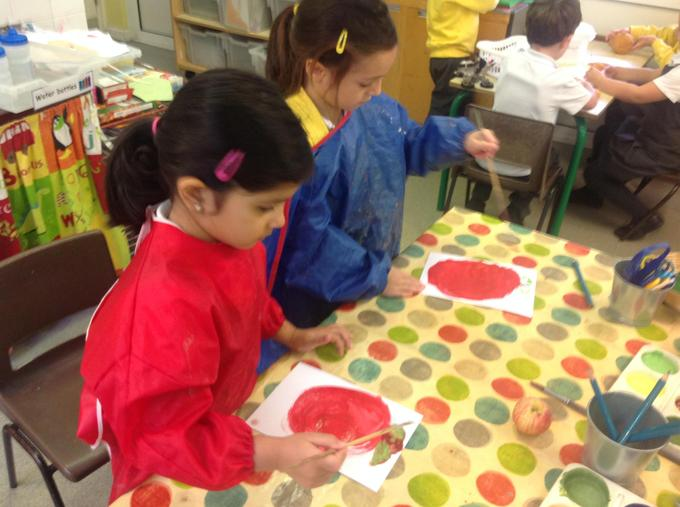 Painting fruit and vegetables