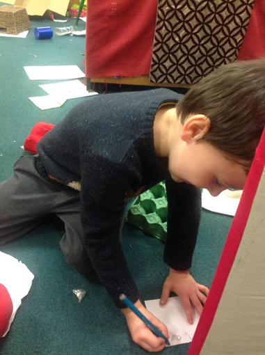Writing labels for our presents