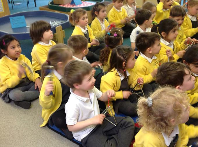 We sang spring songs in music this week