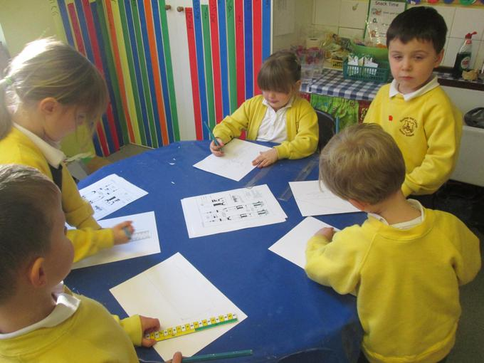 Some children used rulers for accuracy