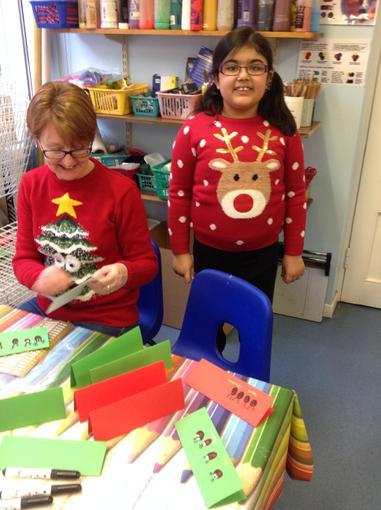 Enjoying making our Christmas cards