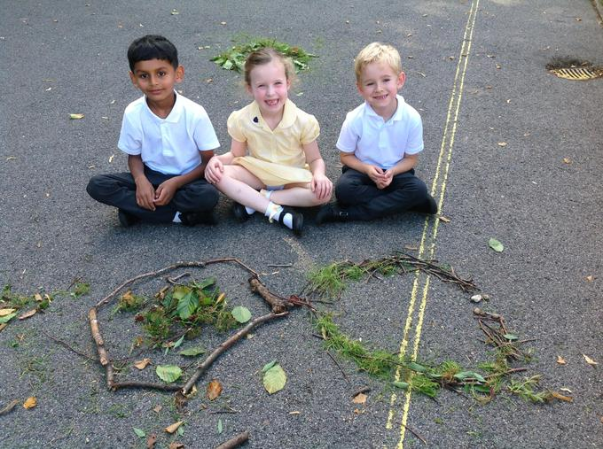 Using sticks and leaves