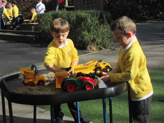 Using vehicles to build a castle