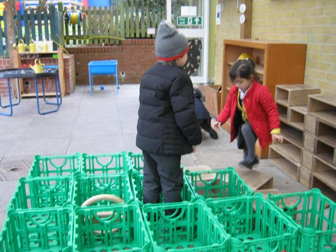 Building a boat with our crates