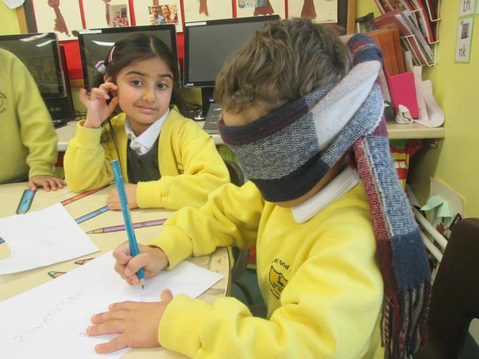 Blindfold writing