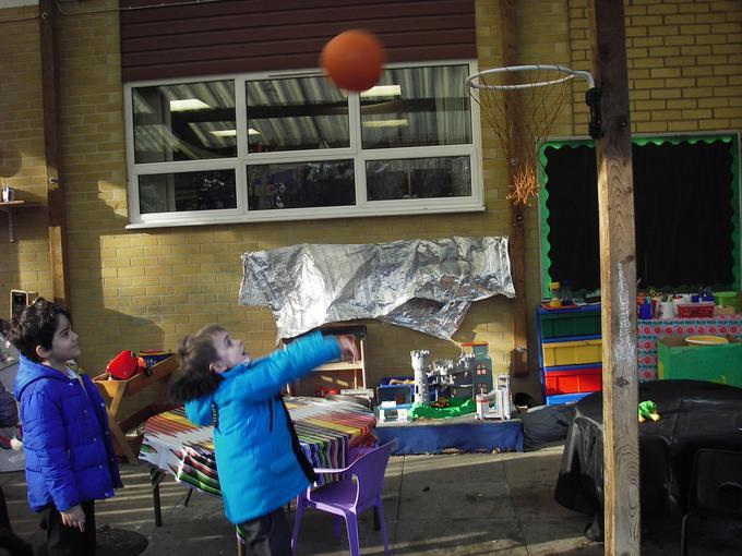 landing the sphere through the hoop