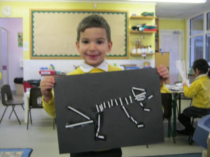 We made dinosaur fossils