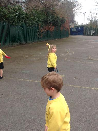Practising our overarm throws