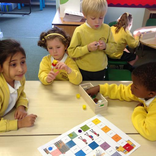 Using cubes to play an adding game
