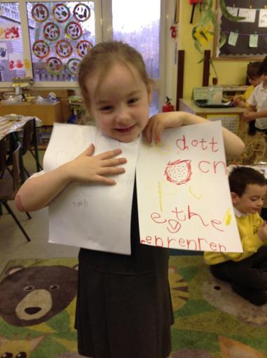 Making signs to keep our egg safe