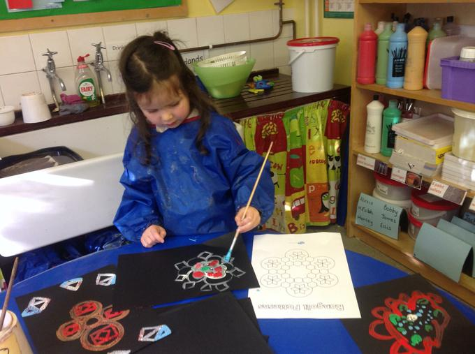 We painted rangoli patterns