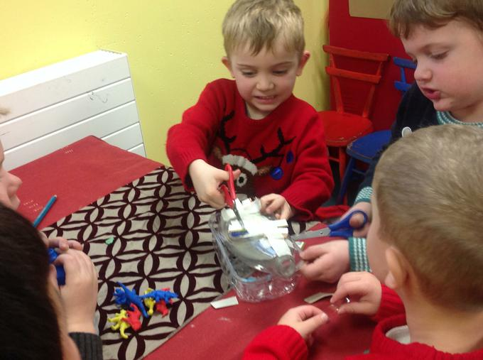 We made the toys using junk modelling materials