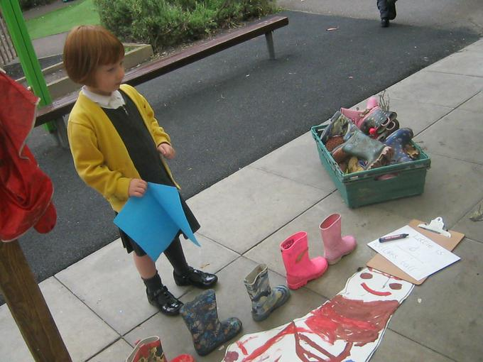 measuring height using wellies!