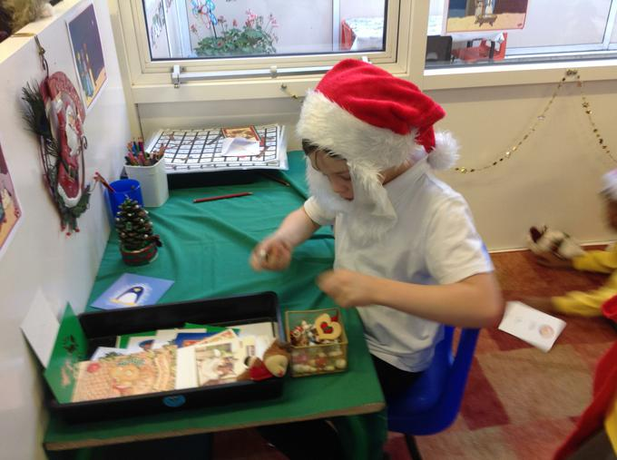 Santa busy at work in his grotto!
