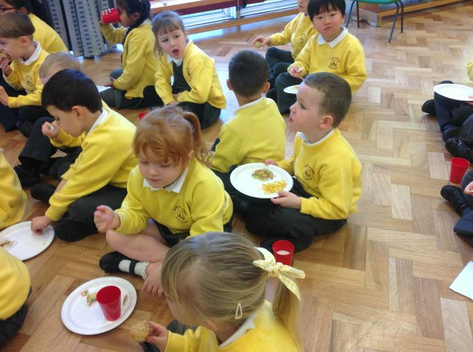 Each child was encouraged to sample some food