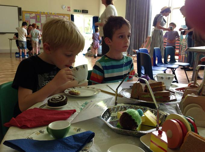 Scrumptious cake, sandwiches and tea in the cafe