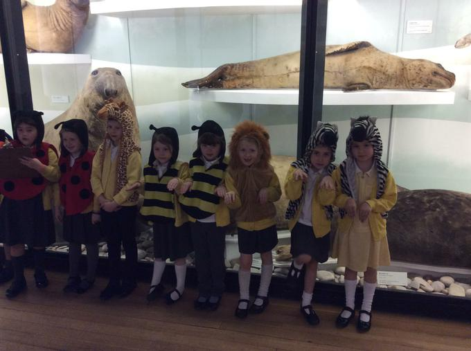 Dressing up to make our own exhibit!