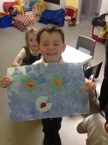 Watercolour painting with lilies