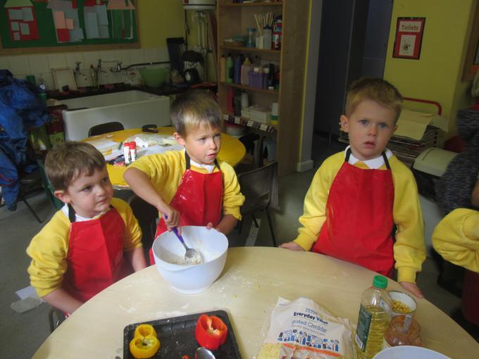 Each group made their own dough