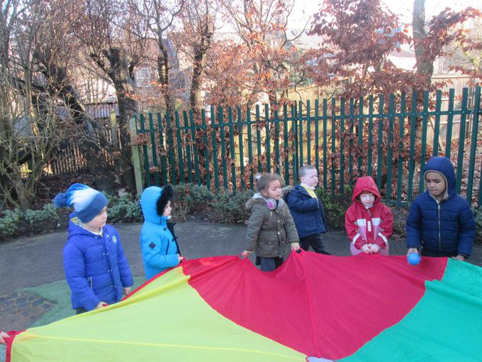 We played parachute games outside