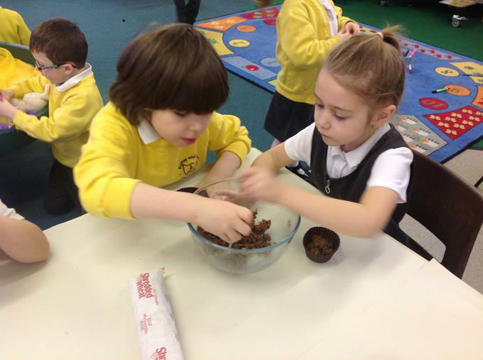 Making our chocolate nests