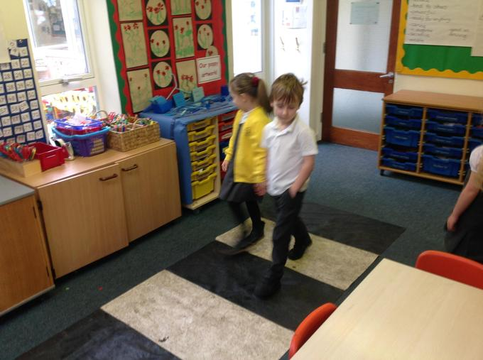 Practising crossing safely!