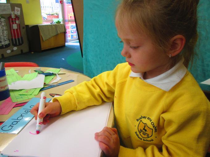 Practising name writing