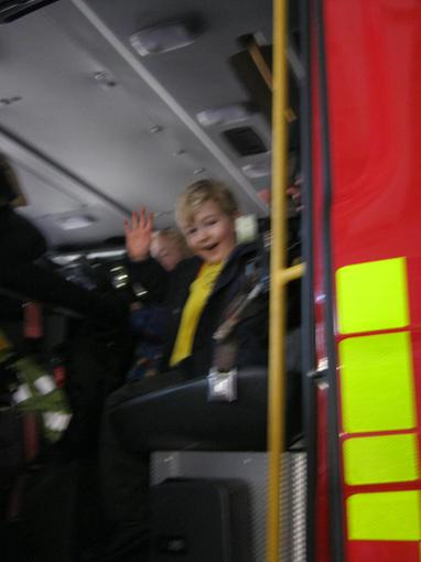 We got to sit in the fire engine