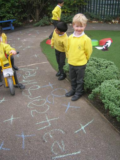 We wrote numbers using chalk