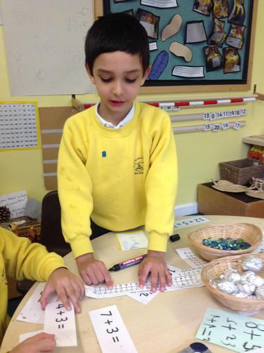 Using a number line to work out a calculation