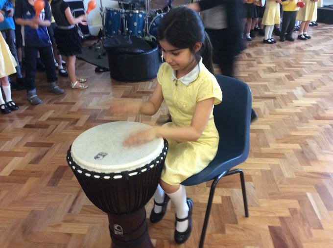 Having fun drumming