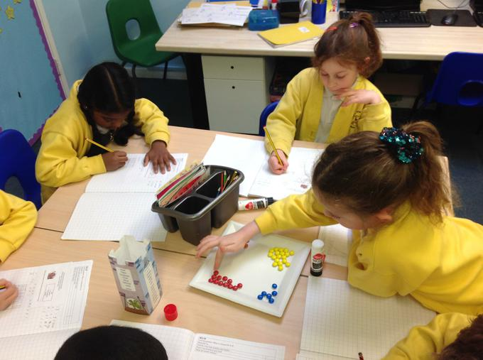 working out fractions with M&M's!
