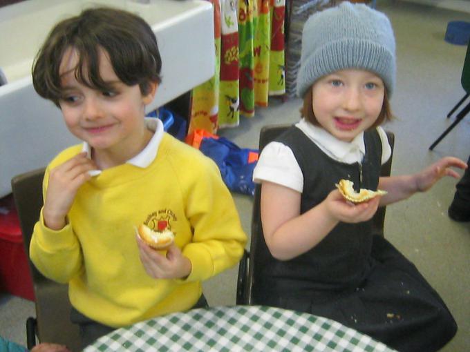 Enjoying the celebration cakes