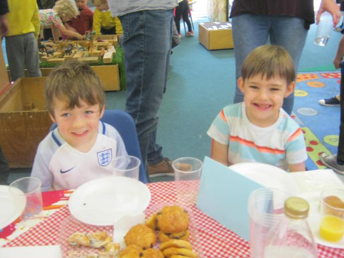 Enjoying pastries at our Parent Breakfast