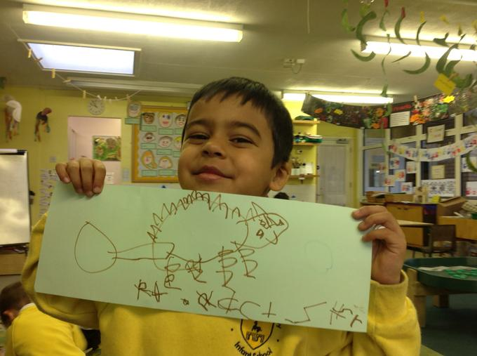 We drew pictures of dinosaurs