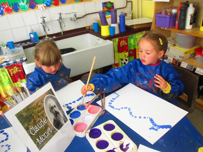 We began to do water lily paintings this week