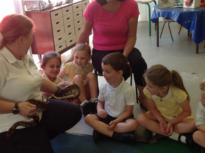 Jungle Jo brought her snake on the visit too