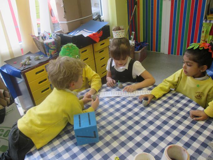 Making clay aliens in our maths session