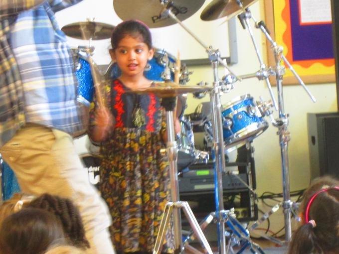 Some children had a chance to play the instruments