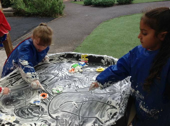 Practising letter formation in the foam