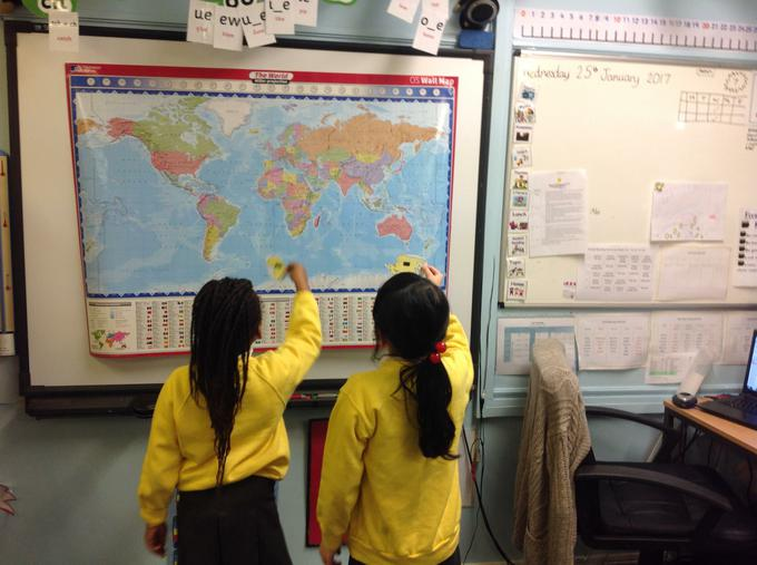 Using the map to find different countries